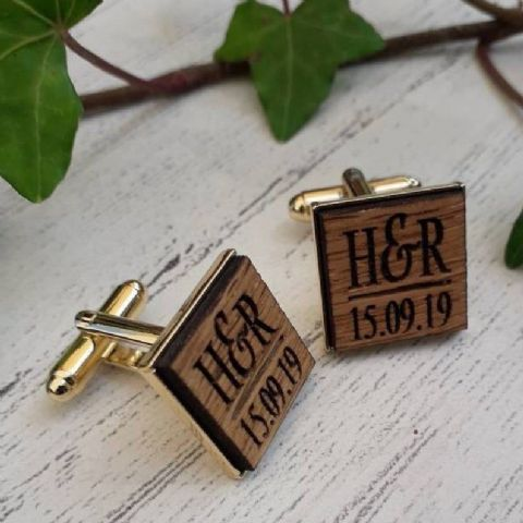 Personalised Initials Date Wooden Oak Cufflinks, Gold Plated